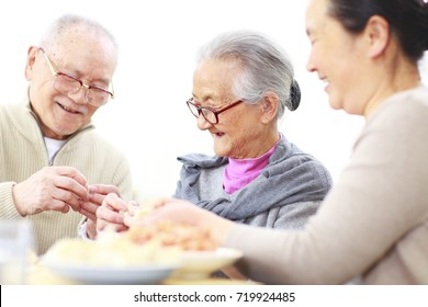 happy senior asian couple making Chinese dumpling in home