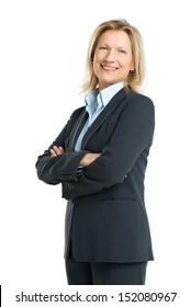 Happy Senior Businesswoman Isolated On White Background