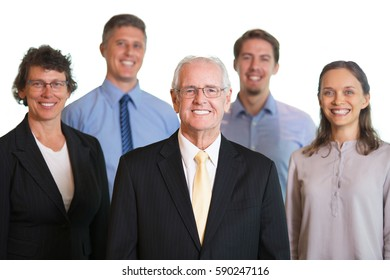Happy Senior CEO With Diverse Stuff