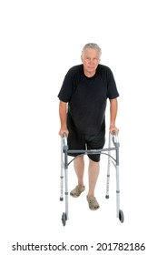 A happy senior citizen uses his walker to stay mobile. isolated on white with room for your text