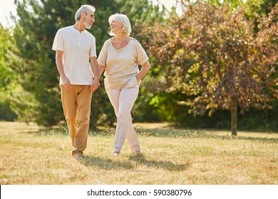 Happy senior citizens in love walking and holding hands in summer