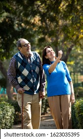 Happy senior couple admiring view at park