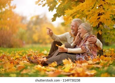 Happy Senior Paar im Herbstpark sitzend