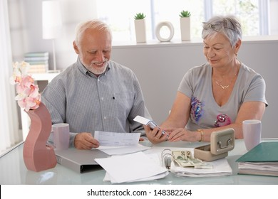 Happy senior couple calculating family budget at home.