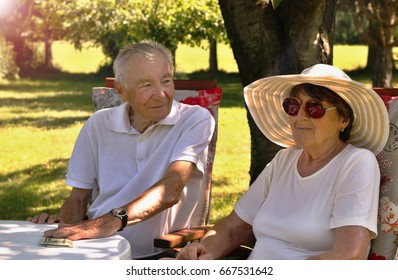 Happy senior couple counting Dollars banknotes sitting at the round table in the garden enjoying life