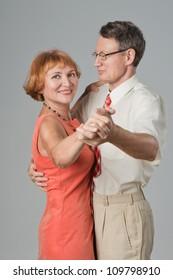 Happy senior couple is dancing. happy elderly couple.