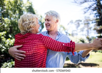 Happy senior couple dancing together in park