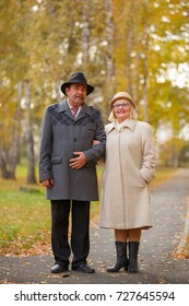 happy senior couple embracing at park during autumn