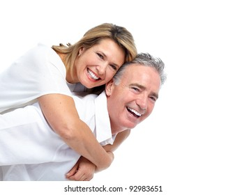 Happy senior couple in love. Isolated over white background.