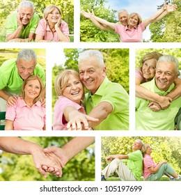 Happy senior couple outdoor collection.