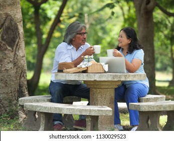 Happy Senior couple picnicking in the garden home.