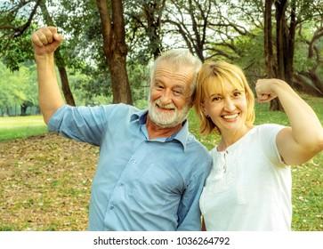 Happy Senior couple relax lifestyle in the park, Happy life