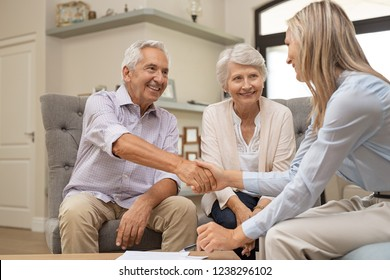 Happy senior couple sealing with handshake a contract. Retired man making sale purchase deal concluding with a handshake. Elderly man and woman smiling while agree with financial advisor.