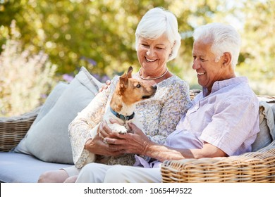 Happy senior couple sitting with a pet dog in the garden