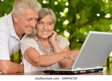 Happy senior couple sitting in summer at table with laptop
