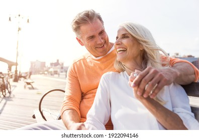 Happy senior couple spending time at the beach. Concepts about love,seniority and people