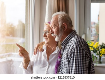 Happy senior couple standing beside window and looking out