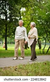 Happy senior couple standing in summer park