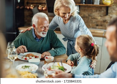 Happy senior couple and their granddaughter communicating during a meal in dining room.