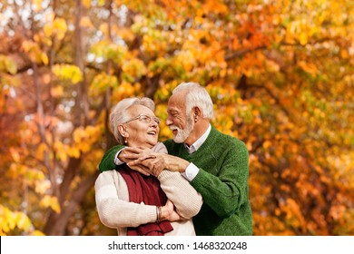 Happy senior couple in the third age they enjoy life in autumn forest
