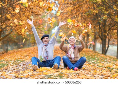 happy Senior couple throwing autumn fall leaves, sitting in a park