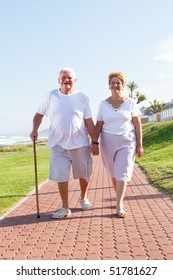 happy senior couple walking outdoors
