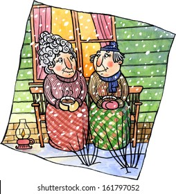 Happy senior couple in warm clothes sitting outside house on a bench and drinking a hot coffee. Winter season. Watercolor and ink illustration.
