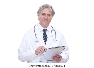 happy senior doctor with stethoscope isolated on white