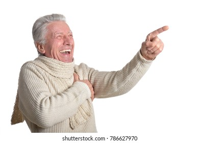 happy  senior man isolated