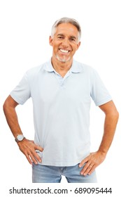 Happy Senior Man On White Background