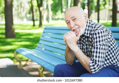 Happy senior man outdoors. Elderly man in casual sitting on the bench in sunny park, copy space