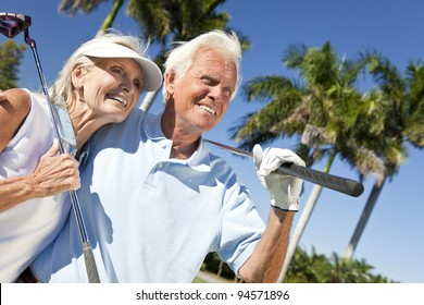 Happy senior man and woman couple together playing golf putting on a green together