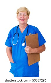 happy senior nurse with clipboard isolated on white
