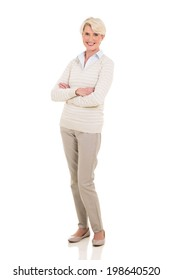 happy senior woman with arms crossed isolated on white