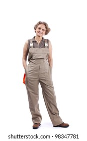 Happy senior woman casual housework clothes (isolated on white)