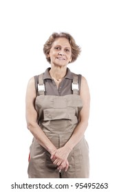 Happy senior woman with construction clothes (isolated on white)