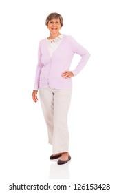 happy senior woman full length portrait on white