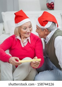 Happy senior woman holding Christmas gift looking at man in house