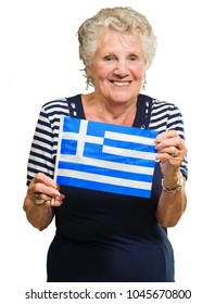 Happy Senior Woman Holding Greece Flag On White Background