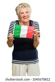 Happy Senior Woman Holding Italy Flag On White Background