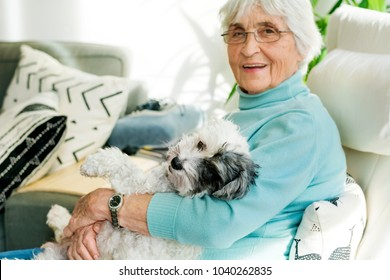 Happy Senior Woman Hugging her Poodle Dog at Home.