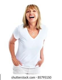 Happy senior woman. Isolated over white background.