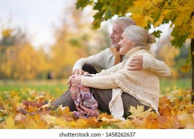 Fröhliche ältere Frau und Mann im Park
