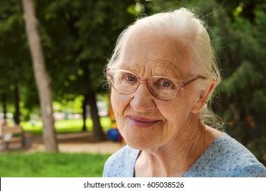 Happy senior woman outdoor. Selective focus
