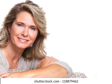 Happy senior woman portrait. Isolated on white background.