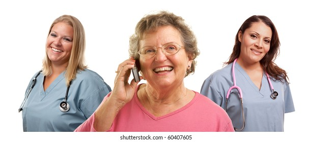 Happy Senior Woman Using Cell Phone with Female Doctors or Nurses Behind Isolated on a White Background.