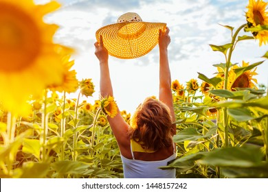 Happy senior woman walking in blooming sunflower field holding hat and admiring view. Summer vacation.