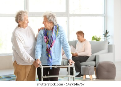 Happy senior women in nursing home