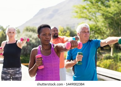 Happy seniors and mature couples exercising with dumbbells. Healthy multiethnic people exercising using dumbbells outdoor. African couple and senior friends in sportswear stretching arms at park.