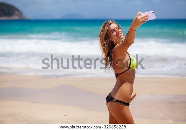 Happy Sexy Girl Selfie Bikini On Stock Photo Edit Now 320656238